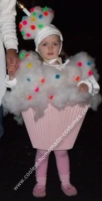 Homemade Cup Cake Halloween Costume: My mother always put a lot of time and creativity into making our costumes and I wanted to continue this tradition.  I asked my 3yr. old what she wanted
