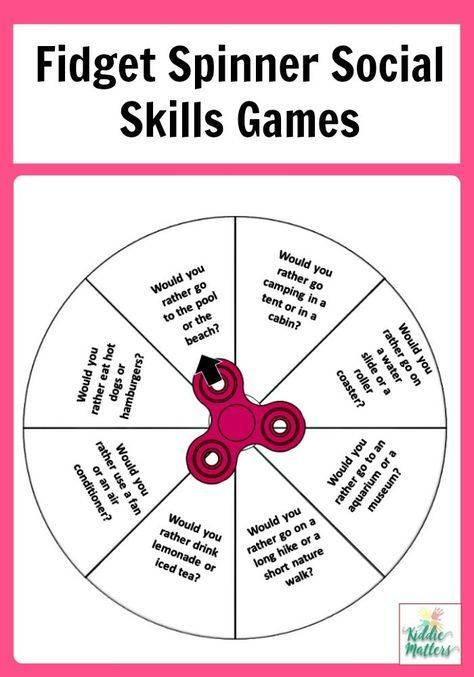 These fidget spinner social skills games are great for children to
