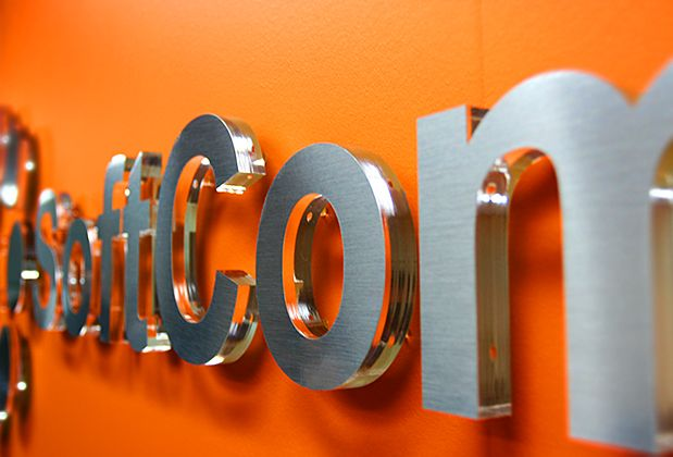Wall mirror office 3d sign for Softcom Inc.- Email and Web Hosting services, Also myhosting.com, mail2web.com