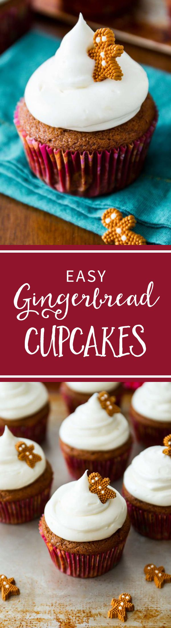 Gingerbread Cupcakes with the BEST cream cheese frosting recipe! sallysbakingaddiction.com
