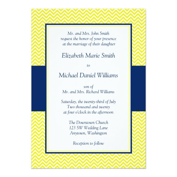 Navy Blue and Yellow Chevron Wedding Invitations