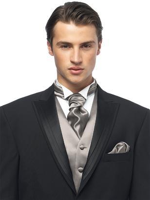 Custom Cravats In Duchess Satin Taupe