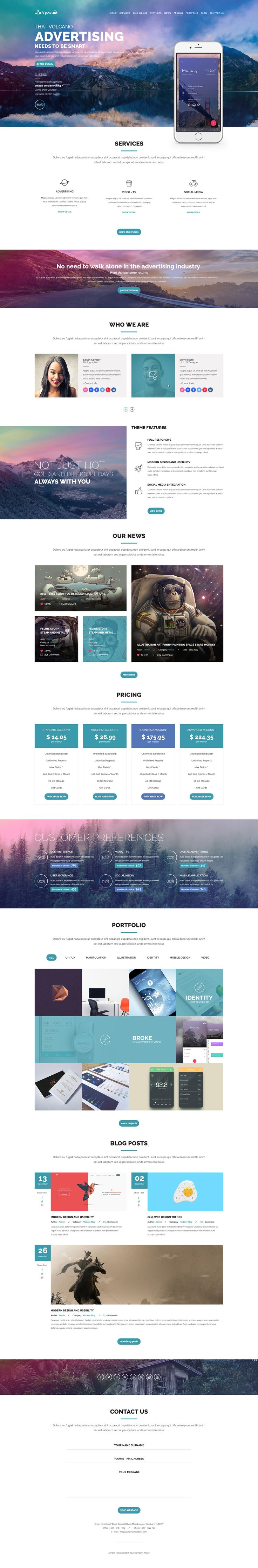 Luispro - Flat & User Friendly Landing Page Design #web #design #ui