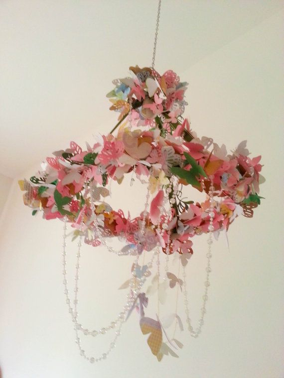OOAK Butterfly and Crystals Chandelier Mobile by PettiBearKIDS, $160.00