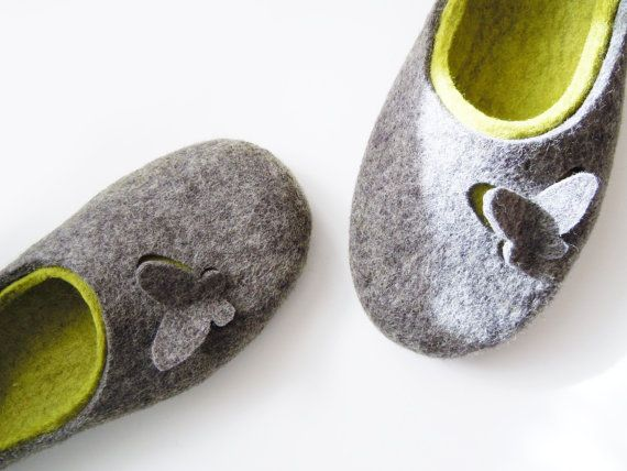 Felted slippers Butterflies by SimplicityOfFelt on Etsy, $64.00