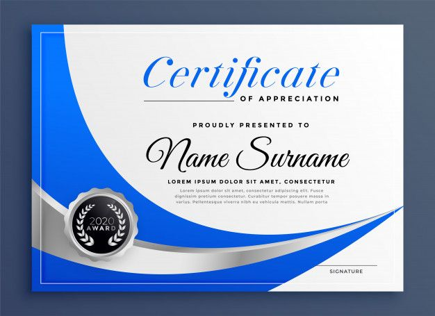 Stylish Blue Certificate Template With Wavy Shape Premium Vector Freepik Vector Certificate Certificate Templates Certificate Design Template Vector Free