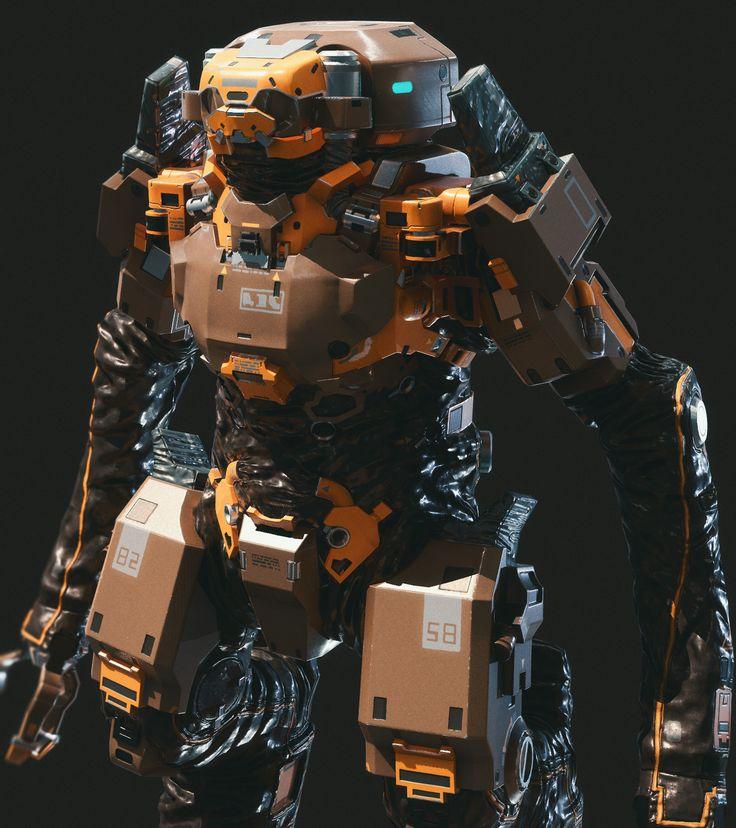 Concept robot, Anton Krasko on ArtStation at https://www.artstation.com/artwork/WWRnJ