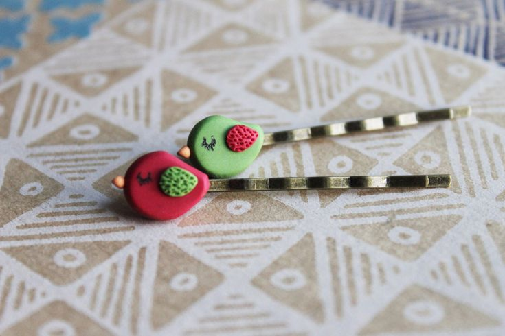 Bird Hair Clips - Handmade Hair Clips - Bird Clips - Handmade Hair Accessories - Little Hair Clips - Gift for Bird Lovers - Handmade Clips by AntoniaCrafts on Etsy https://www.etsy.com/uk/listing/179645057/bird-hair-clips-handmade-hair-clips-bird