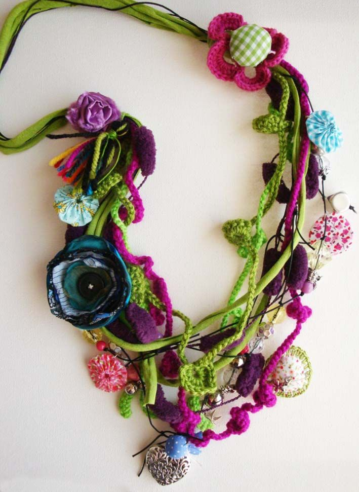 fiber necklace by Gata Valquiria http://gata-valquiria.blogspot.com/ Would someone wear this if I made it?  ;)