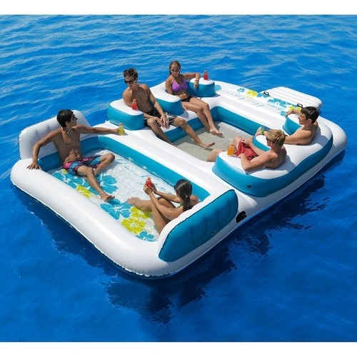 Huge 6 Person Inflatable Floating Island Pool Float Raft Lake Party Lounge  NEW