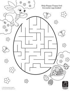 Free Easter Printable - Help Hoppy find his Easter egg basket in this a-mazing coloring activity for kids!