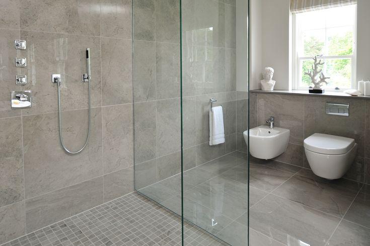 Minoli Tiles - Gotha - A luxurious wall #tile and #mosaic! Gotha is a stunning collection, Matt #Mosaic, suitable for inside the #shower. #Minoli #Porcelain #Tiles #Mosaic #Gotha #Shower , by Minoli. Floor Tiles: Gotha Platinum Lux 59 x 59 cm. / Wall Tiles: Gotha Platinum Lux 60 x 60 cm, Gotha Platinum Matt Mosaic 30 x 30 cm. -http://www.minoli.co.uk/tiles/grey-marble-effect-floor-tiles/ - http://www.thesurfacewithin.co.uk/range/gotha/platinum/