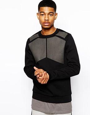 ASOS BLACK Panelled Sweatshirt