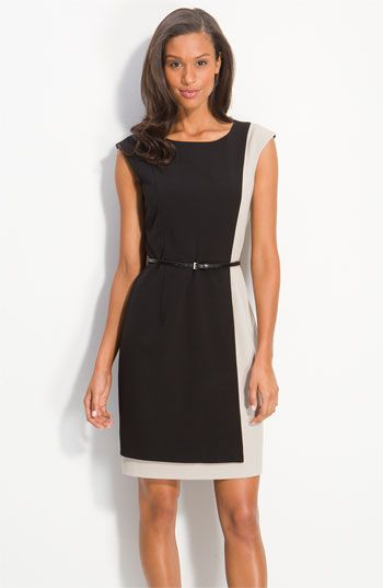 Love the lady like cut of this sheath dress & then a little bit of color blocking to go with this spring. perfect work dress!