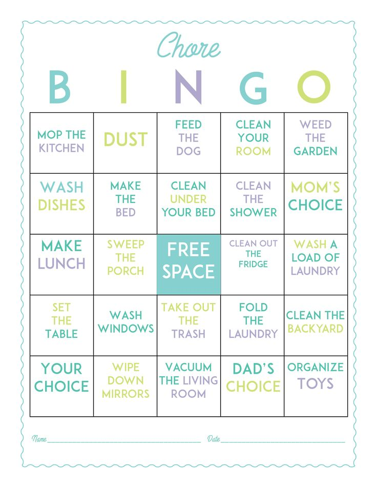 Chore Bingo Game Board