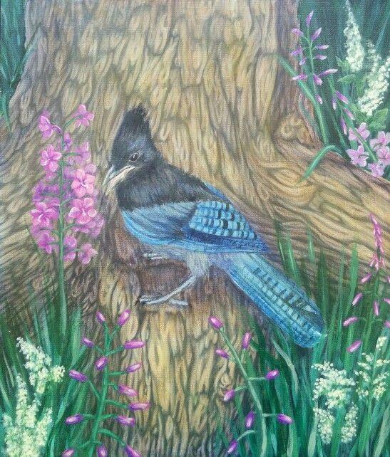 "Steller Jay. Acrylic. 12 x 14"". Nicole Horel."