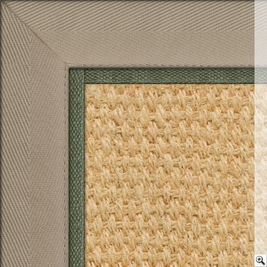 Coir Panama Bleached Rug. Border: Cotton Herringbone / Ecru. Piping: Cotton / Apple (1cm)