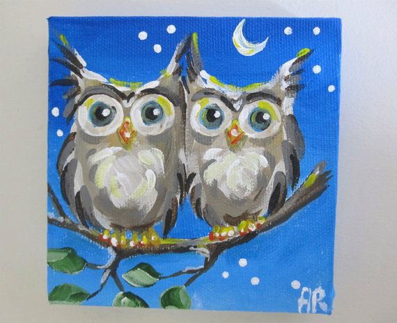 Owl Art- Two Night Owls on a Tree Branch- original mini painting 4x4 on Etsy, $21.00