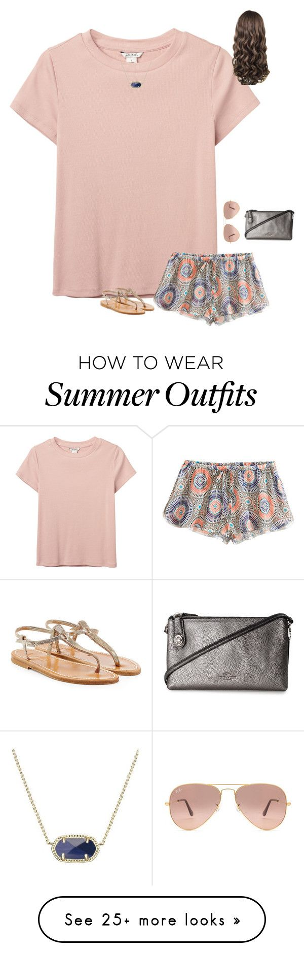 """""""Summer Outfit ☀️"""" by liblu13 on Polyvore featuring Ray-Ban, Monki, H&M, Kendra Scott, K. Jacques and Coach"""