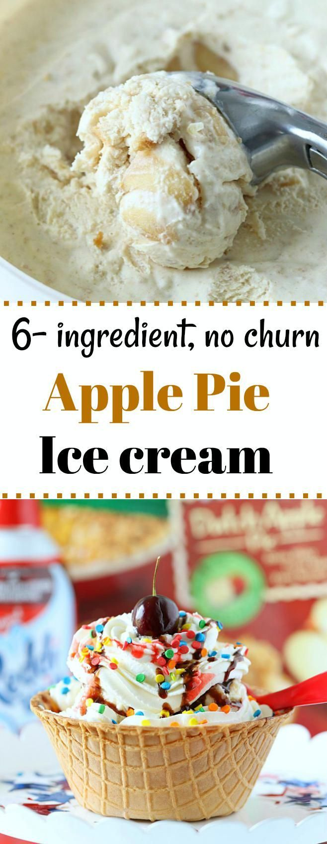 Do you love Apple Pie? Then this 6-ingredient creamy and delicious No Churn Apple Pie Ice Cream is a perfect way to satisfy your craving. A must-have summer treat!