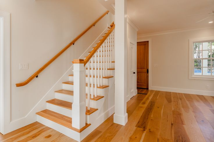 Exquisite room and staircase with hickory wood flooring done by the talented Bill Ingram. Contact Bill at mbingramarchitect@gmail.com for inquiries.