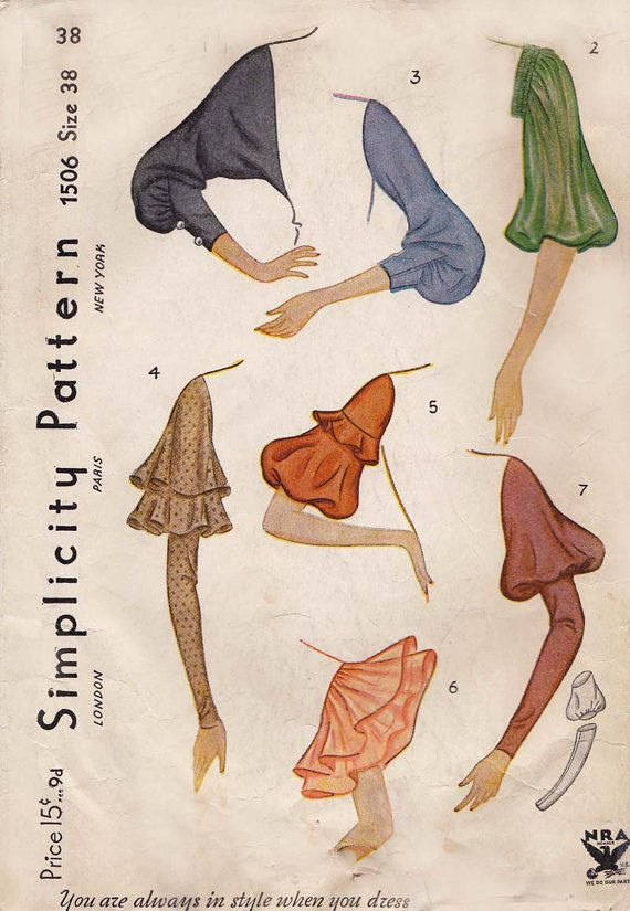 1930s Simplicity 1506 Sewing Pattern for a Variety of Vintage Sleeves RARE | eBay