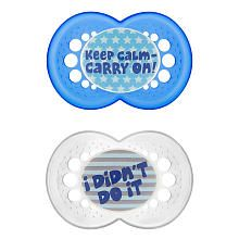 MAM Attitude Pacifier - BPA Free - 6  months - 2 pack - Keep Calm Carry On / I didn't do it