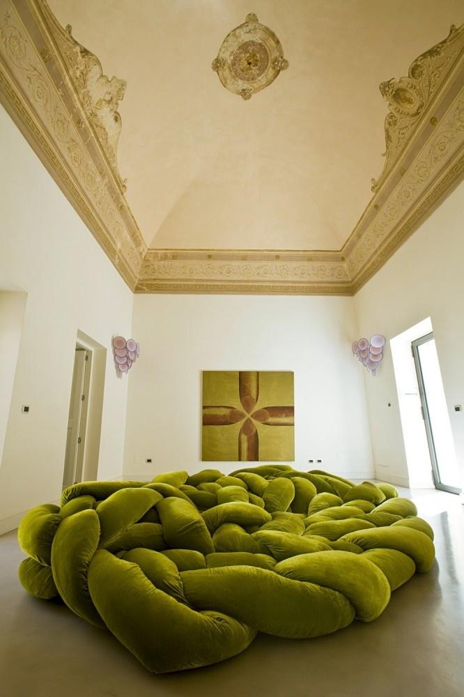 Ultra plush sofa bed in an18th century Italian palace