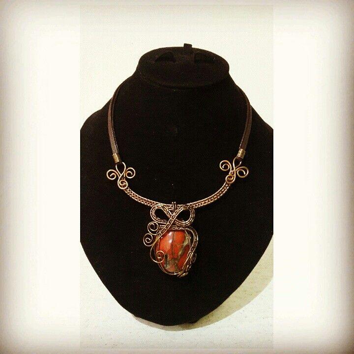 Natural stone pendant. Gunmetal wire.