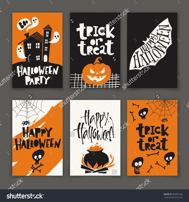 Vector set of six cartoon style Halloween poster designs with halloween symbols …