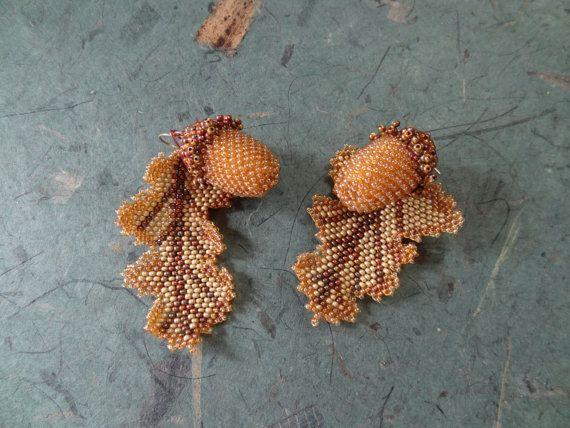 Acorn and Oak Leaf Bead Woven Earings by gayhuntley on Etsy, $79.00