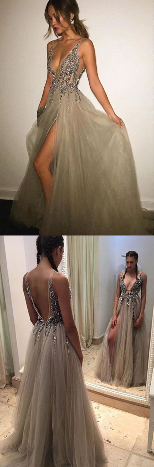 Grey Backless Deep V-neck Split Sweep Train Prom Dress with Beading, MI64,long prom dresses,gowns prom,prom dresses on line,dresses for girls,fashion prom gowns,evening dresses,party dress,sexy prom dresses