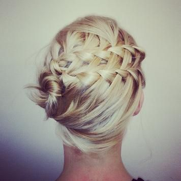 Double waterfall braid with side updo