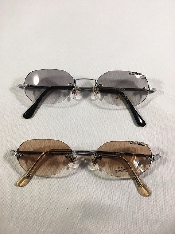 6503b7bc50e Tiny Rounded Rimless Sunglasses Vintage Deadstock