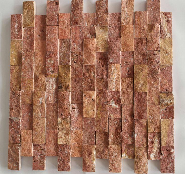 "(22 pcs.) Stacked Stone 1""X2"" Tumbled Red Travertine Brick Mosaic Tile 12""X12"" (30x30cm)"
