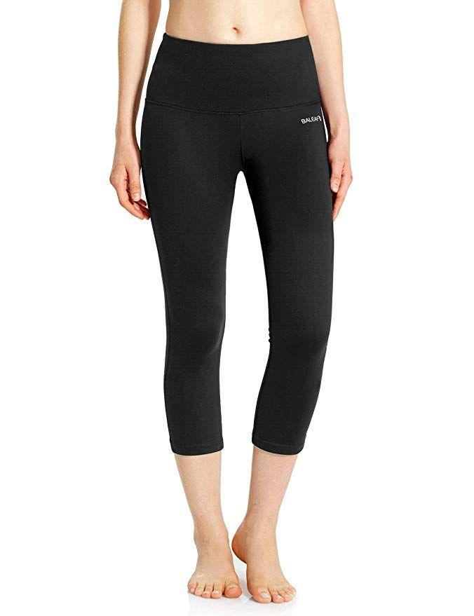 2965b442cb4bd Baleaf Women's High Waist Yoga Capri Leggings Tummy Control Non See-Through  Fabric Black Size L