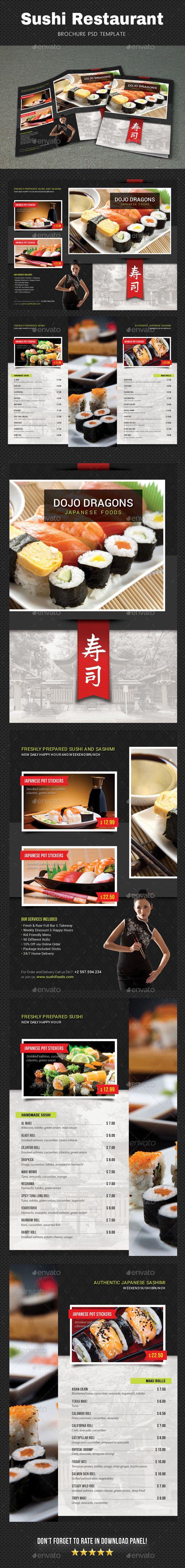 Sushi Menu Brochure - Food Menus Print Templates