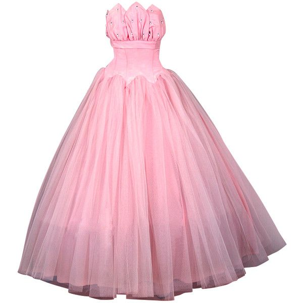 1950's Champagne-Pink Taffeta & Tulle Petal-Bust Strapless Gown