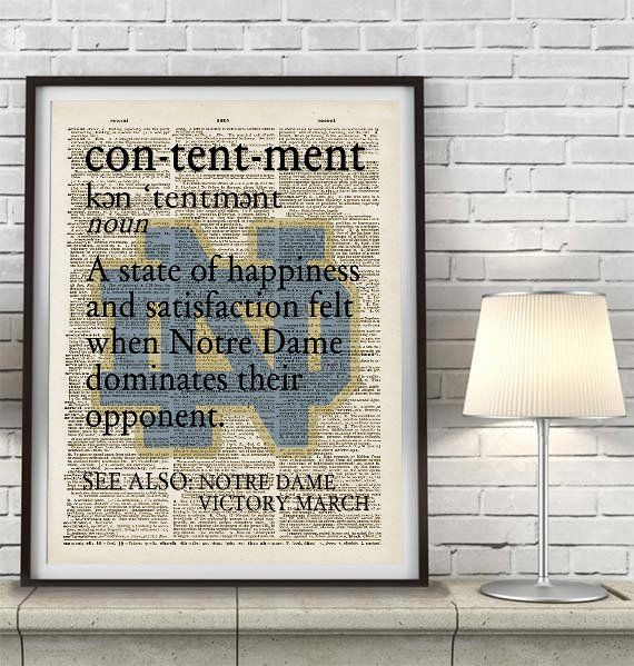 "Notre Dame Fighting Irish inspired ""Contentment"" ART PRINT Using Old Dictionary Pages, Unframed"