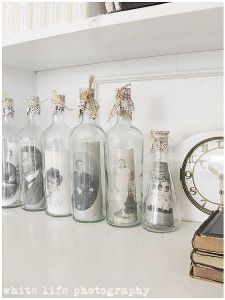 white life ©: Recycling of old white glass bottles - My little gallery of ancestral portraits