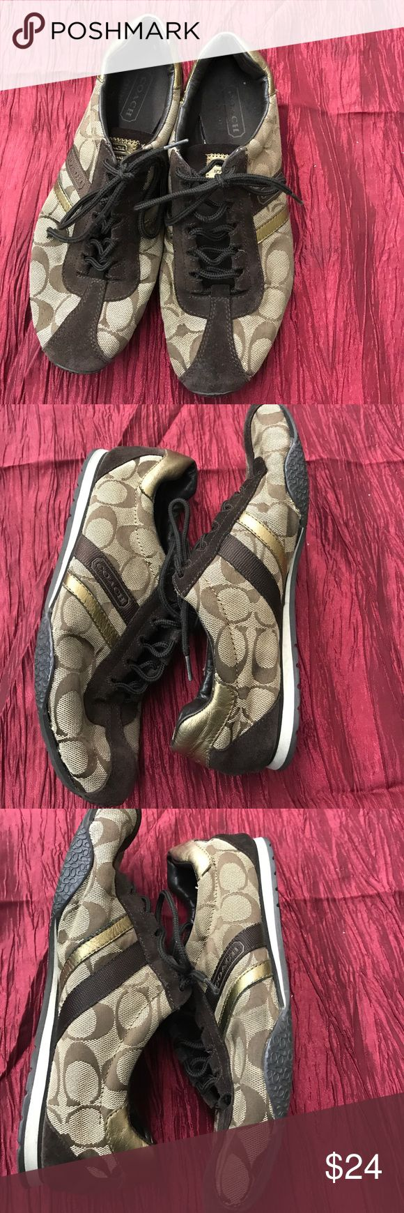 🇺🇸Authentic Coach Tennis shoes, gently worn Coach tennis shoe, brown and gold, small tear in last photo,  cute comfy shoe Coach Shoes Flats & Loafers