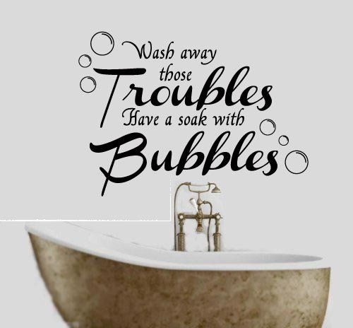 wash away your troubles bathroom quote vinyl wall art decal sticker 16 colours available black