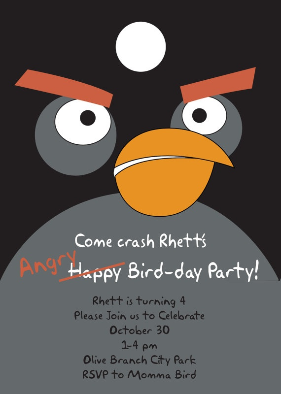 angry birds party invitation-one of my kids will have this party next year :)