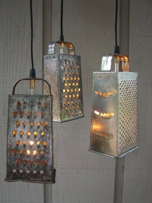 Old graters and kitchen utensils into hanging lights via @letsupcycle