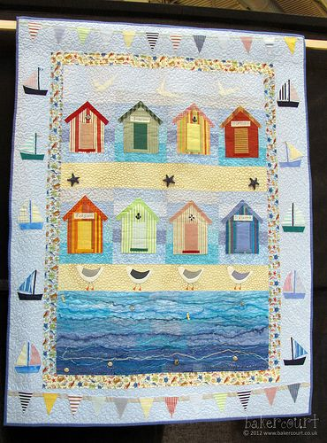 beach quilts | ... bunting, and beach huts, and variegated batik sea - and seagulls
