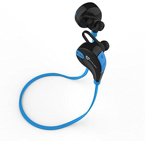 Bluetooth Headphones: Stalion® Sound Wireless Stereo Sports Headset Universal for iPhone 6s Plus Samsung Galaxy S6 Edge+ (Jet Black/Cyan Blue) AptX HD Clarity-Noise Reduction + Mic & Neck Strap  Stalion® Sound Bluetooth 4.1 Headphones:    Stalion Sound releases its newest cell phone smartphone tablet phablet electronics accessory. Universal Bluetooth Headset pair-able with all enabled devices. Enjoy an untangled music experience. No more chord management and disrupted engagement beca..