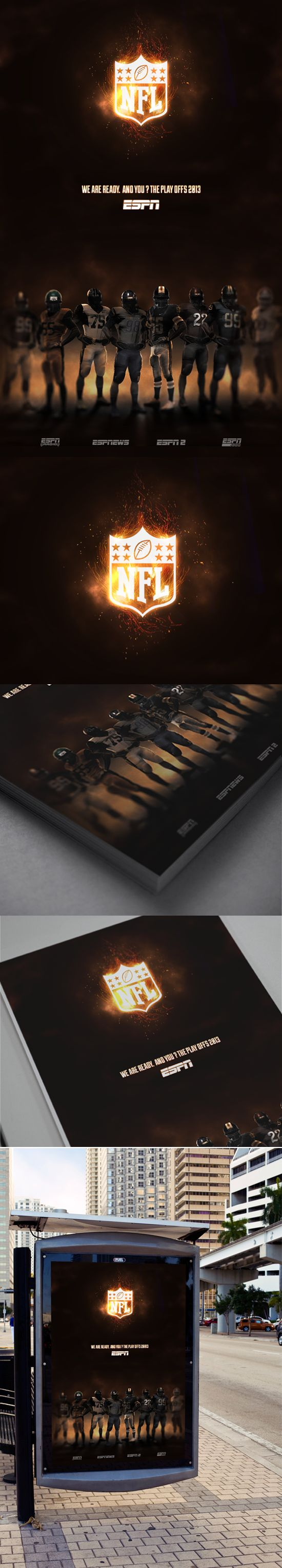 Creating advertising poster, for different media, to promote the 2013 NFL playoffs.Techniques have been used digital fotmanipulación, through Adobe Photshop.  #design #graphic #ads #nfl #espn #sports #football #usa #american #playoffs #2013 #creative #freelance
