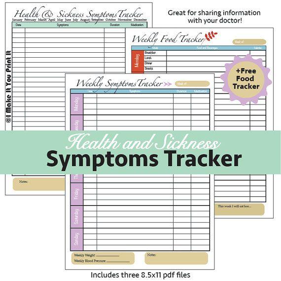 Health and Sickness Symptoms Tracker | I Make It You Print ...