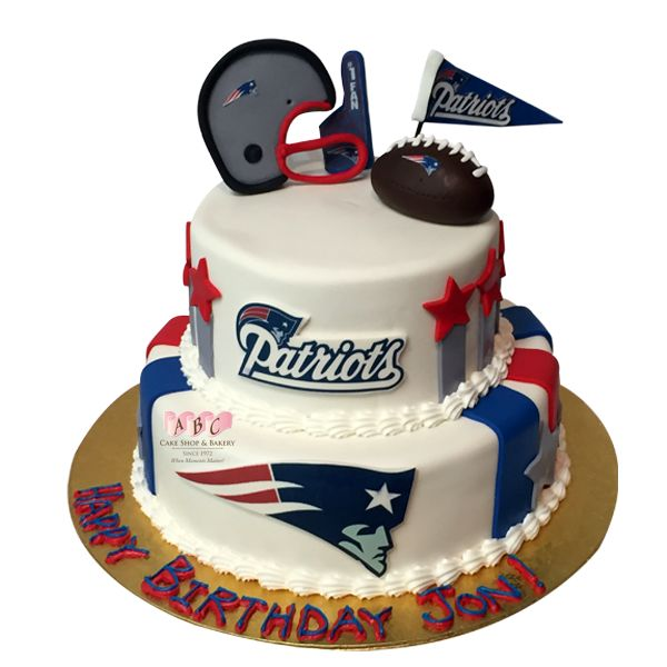 2 Tier New England Patriots Football Birthday Cake.  Great to Celebrate a Birthday, Father's Day, or The Big Game. #ABCCakeShop #Patriots #Football