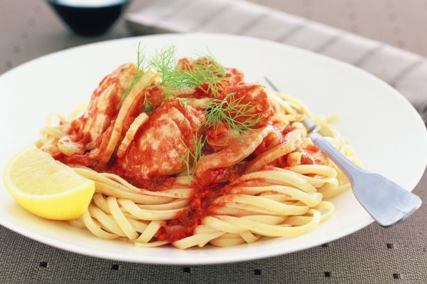 Fish pasta with tomato and fennel
